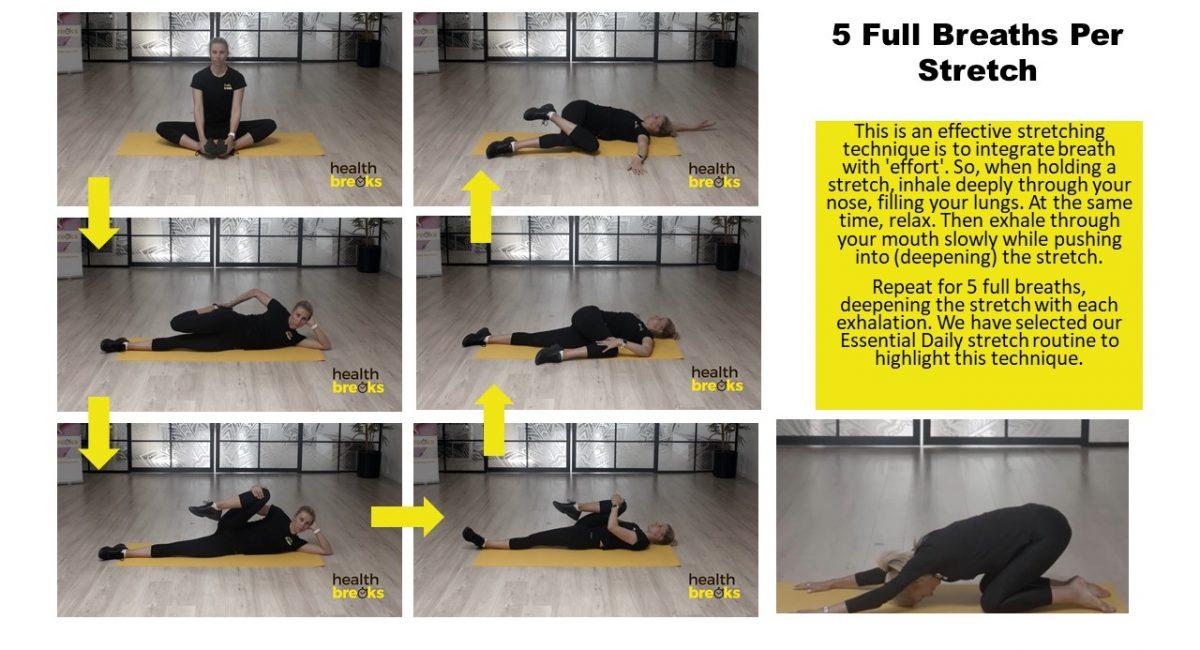5 Full Breaths per Stretch